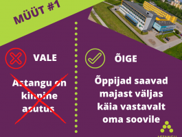 Peamiselt tekst ja üleval nurgas droonipilt keskusele. Müüt #1 Astangu on kinnine asutus. ÕIGE Õppijad saavad majast väljas käia vastavalt oma soovile.